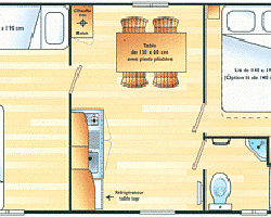 Mobil-home DOMINO ECO : 4 ou 5 personnes - 2 chambres